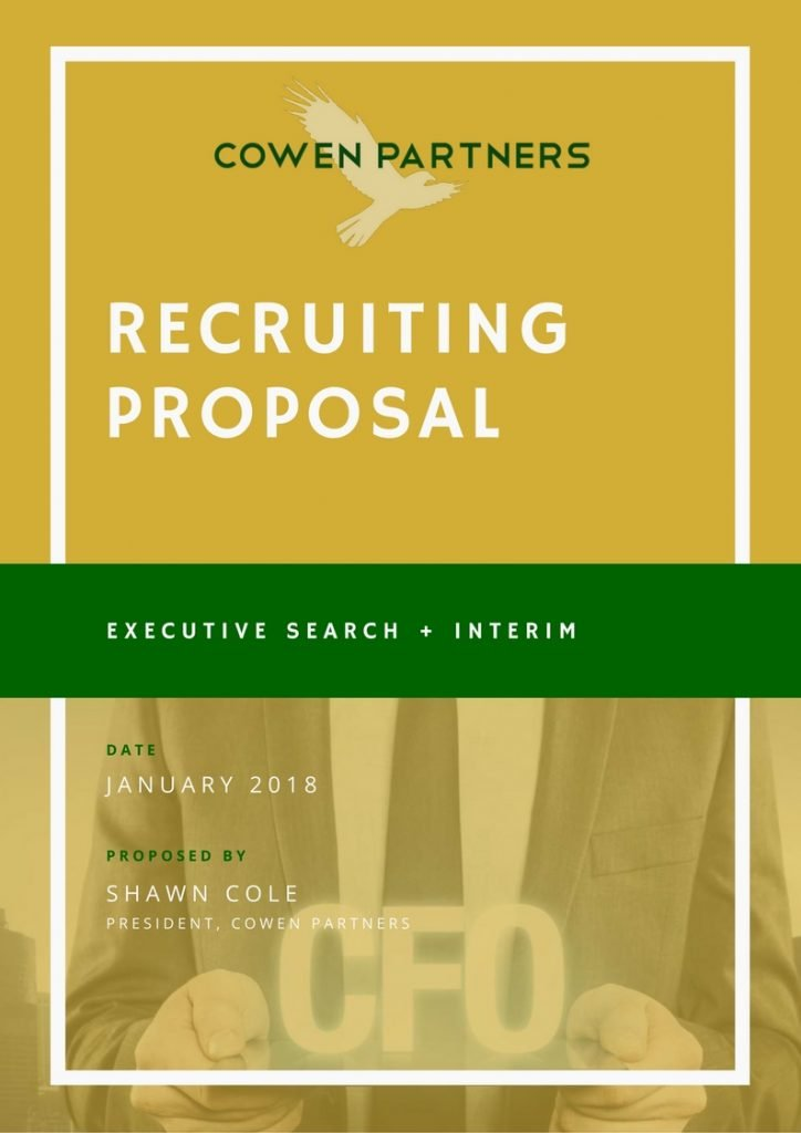 Executive Search Proposal | Executive Search Firm | Cowen Partners