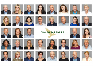 Portraits of Executive Search Firm Cowen Partners associates with the logo centered.